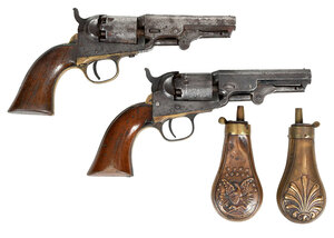 Pair of Colt Pistols and Two Powder Flasks