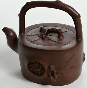 Two Decorated Chinese Yixing Teapots
