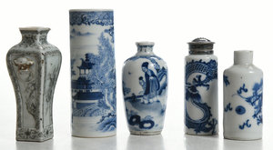 Four Blue and White Bottles, Encre de Chine Vase