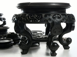 Collection Chinese Carved Hardwood Stands/Lids