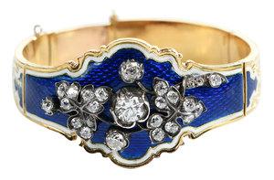 Antique 18kt. Diamond and Enamel Bracelet