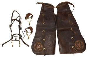 Group of Leather and Bronze Riding Accessories