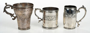 Three Spanish Colonial Silver and Silver Plate Mugs