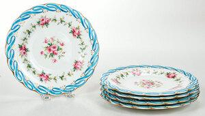 Set of Five Rose Decorated Porcelain Plates