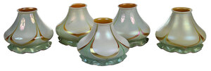 Five Steuben Pulled Feather Art Glass Shades