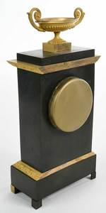 French Empire Gilt and Patinated Bronze Clock