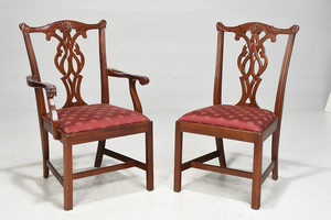 Ten Chippendale Mahogany Style Dining Chairs