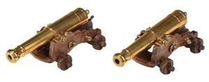 Pair Miniature Brass Cannons