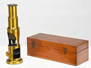 Vintage Brass Microscope in Fitted Wooden Case