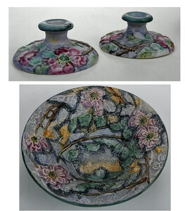 Weller Ware Art Pottery Bowl, Pair Candle Holders