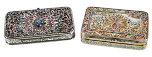 Two Jeweled Silver Cases with Peacocks