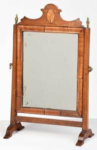 George III Fan Inlaid Mahogany Shaving Mirror