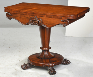 Pair William IV Figured Rosewood Card Tables
