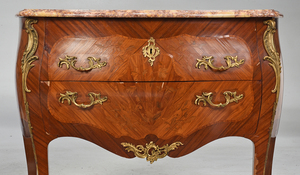 Pair Louis XV Style Marquetry Commodes
