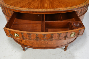 Adam Style Satinwood Decorated Demilune Commode