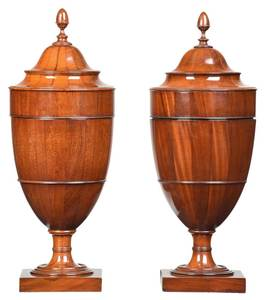 Fine Near Pair Federal Mahogany Knife Urns