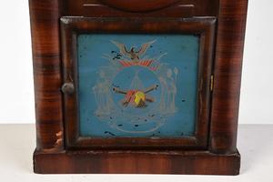 Civil War Eglomise Gothic Style Shelf Clock