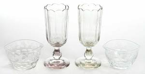 Fine Pair Etched Celery Vases, Wine Rinsers