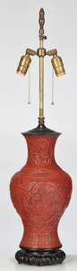 Chinese Carved Cinnabar Vase Converted to Lamp