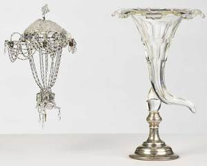 Cut Crystal Cornucopia Vase, Miniature Chandelier