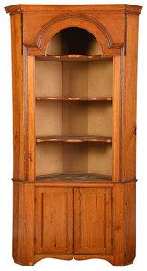 American Chippendale Pine Corner Cupboard