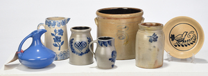 Seven Blue Decorated Ceramic Items