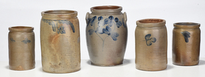 Five Cobalt Decorated Stoneware Crocks