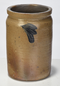 Five Cobalt Decorated Stoneware Crocks