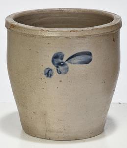 Three Cobalt Decorated Stoneware Crocks