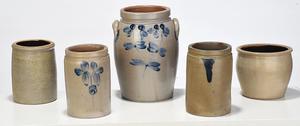 Five Salt Glaze Stoneware Crocks