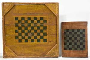 Two American Country Paint Decorated Game Boards