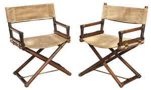 Pair Oak, Brass, Suede Folding Director's Chairs