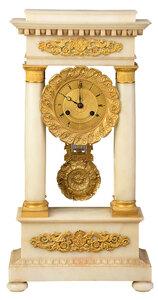 French Empire Gilt Bronze, Marble Portico Clock