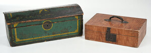 Two Painted Decorated Wooden Boxes