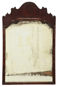 William and Mary Bookmatched Mahogany Mirror