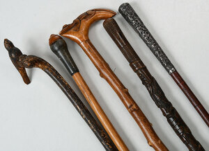 Five Carved Wood Walking Sticks