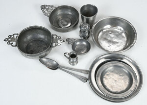 Sixeen Pieces Early Pewter Including American