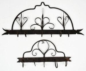 Two Wrought Iron Hanging Racks