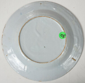 Seven Blue and White Decorated Delftware Plates