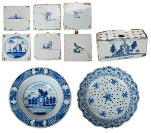 Blue and White Delftware Bowls, Tiles, Frog