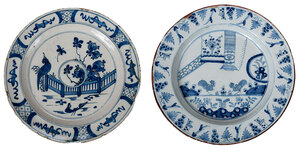 Two Blue and White Delftware Chargers with Birds