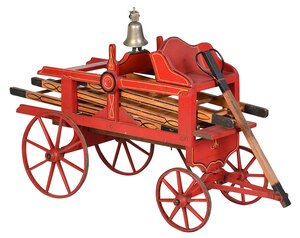 Child's Paint Decorated Fire Wagon