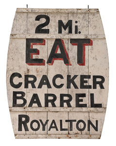 Royalton, Vermont Cracker Barrel Trade Sign