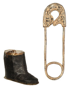 Two Folk Art Trade Signs, Boot and Safety Pin