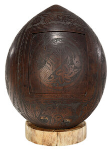 Carved Coconut Shell and Bone Ring Stand