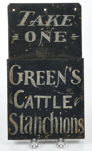 Tole Advertisement Display for Green's Cow Stanchions