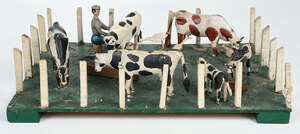 Folk Art Carved and Painted Cow Yard