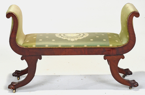 Pair Classical Figured Mahogany Window Benches
