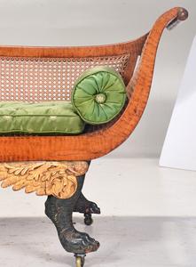 Fine and Rare Tiger Maple Gilt and Vert Grecian Sofa