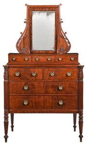 Fine New England Federal Carved Mahogany Dresser